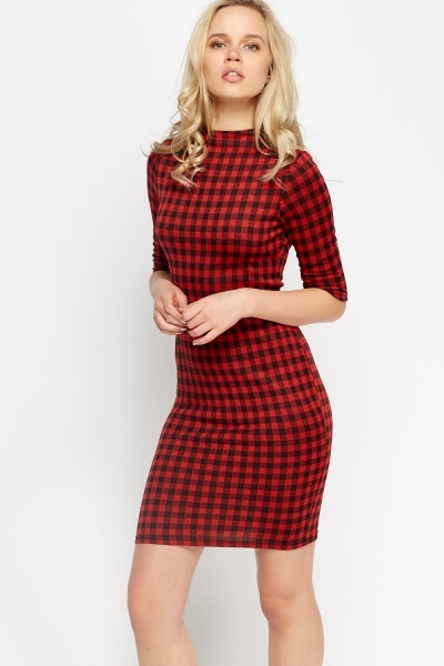 3/4 Sleeve Checked Bodycon Dress