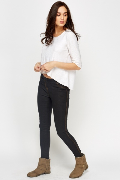 Textured Black Leggings