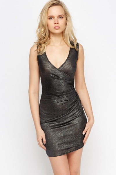 Twist Side Metallic Bodycon Dress