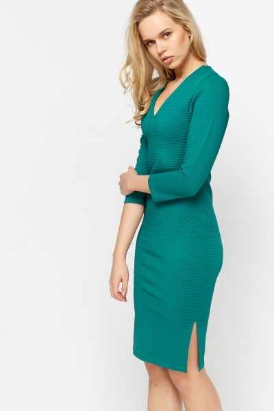 V-Neck Ribbed Midi Dress