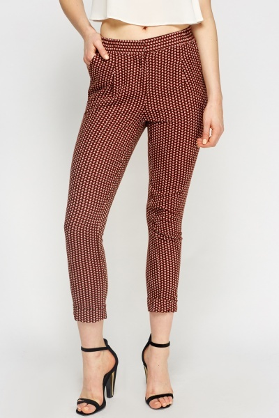 Brown Printed Cigarette Trousers