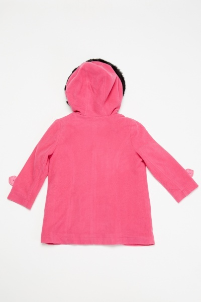 Fuchsia Fleece Hooded Coat