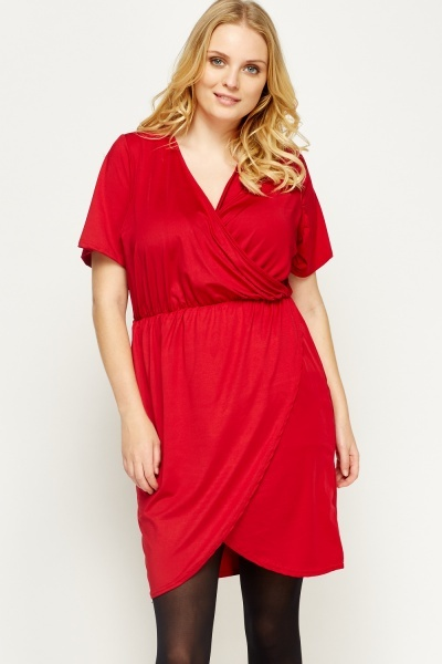 Wrap Elasticated Shift Dress