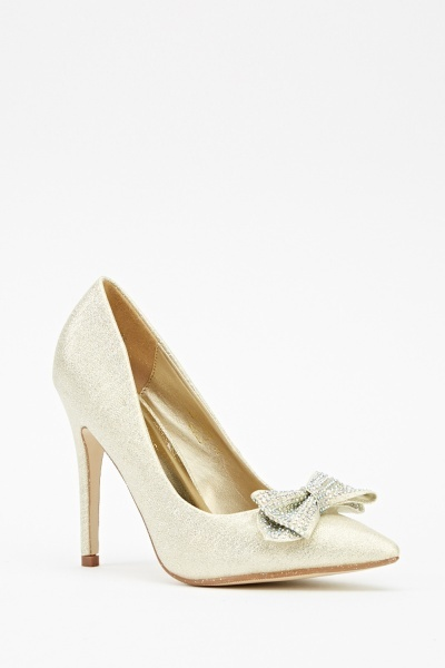 Encrusted Bow Glitter Court Heels