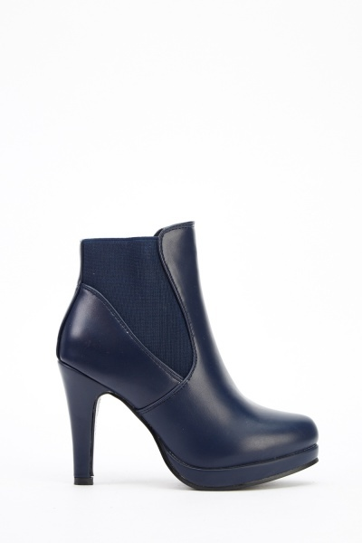 Insert Elastic Heeled Ankle Boots