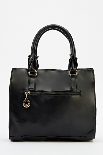 Twin Pocket Faux Leather Handbag