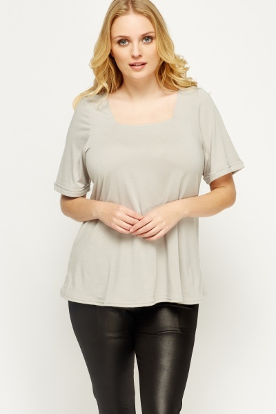 Image of Grey Low Neck Top