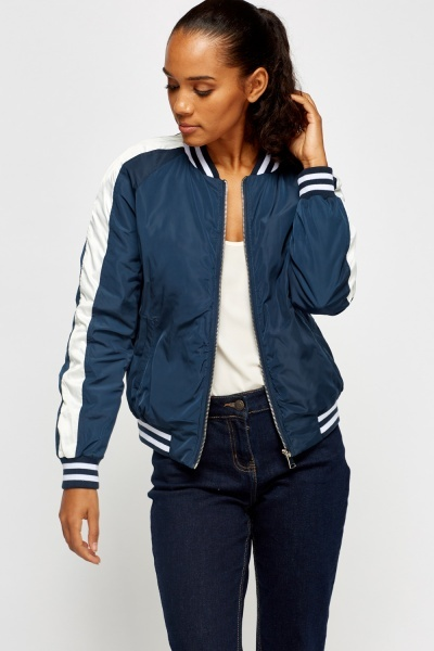 Contrast Zipped Bomber Jacket