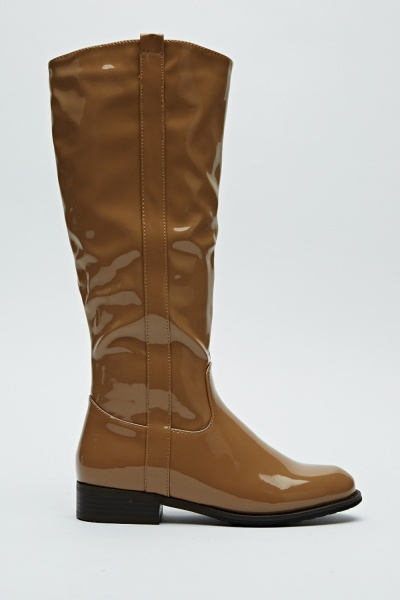 Knee High Wet Look Boots