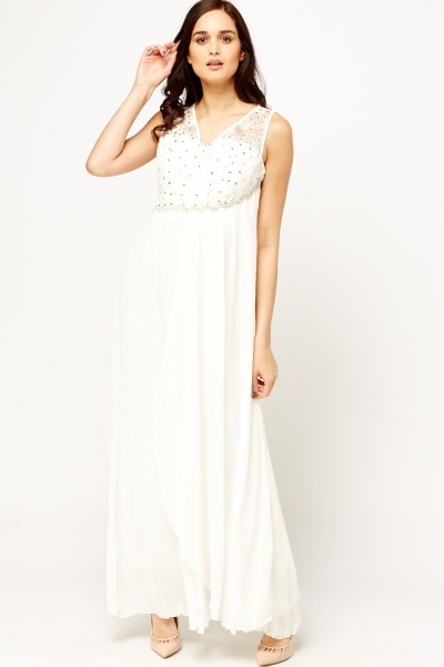 Lace Overlay Encrusted Maxi Dress