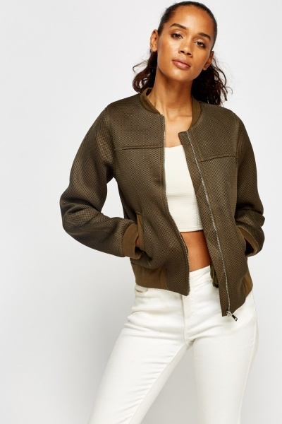 Perforated Bomber Jacket