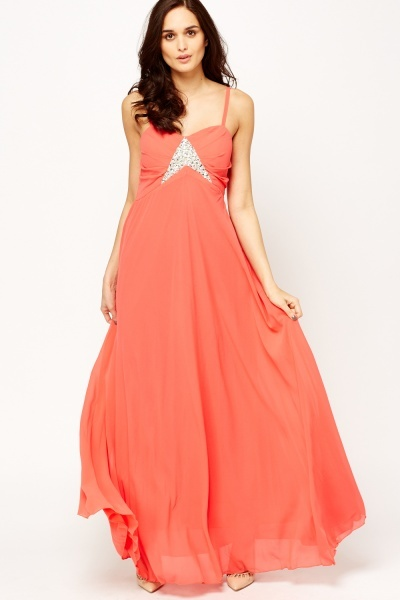 Encrusted Ruched Maxi Dress