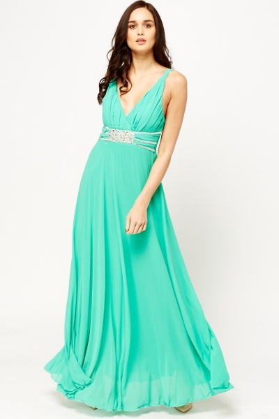 Encrusted Wrap Front Maxi Dress