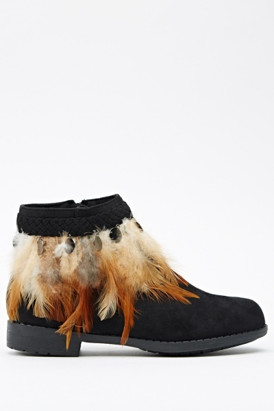 Feather Embellished Ankle Boots