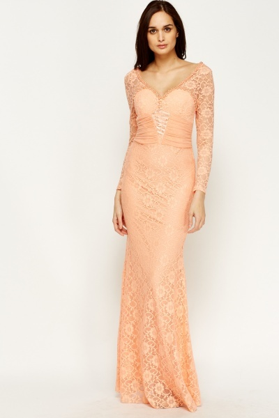 Beaded Lace Corset Front Maxi Dress
