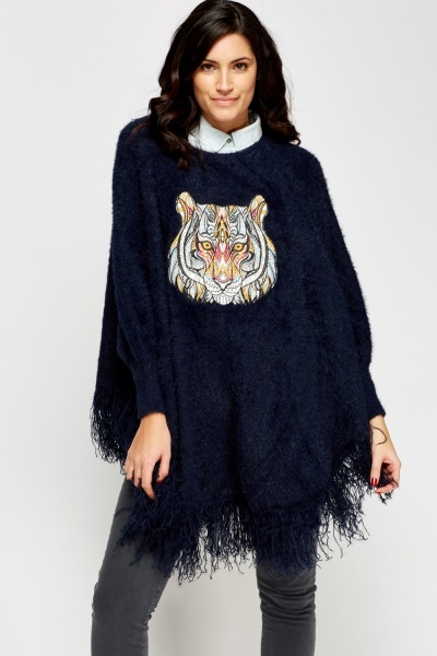 Embroidered Tiger Fringed Hem Poncho