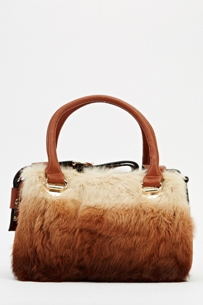 Faux Fur Royal Blue Contrast Handbag