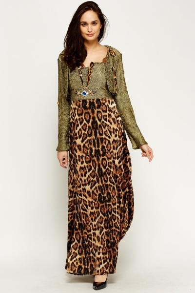 Image of Metallic Embellished Velveteen Leopard Dress