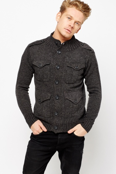 Speckled Multi Pocket Cardigan