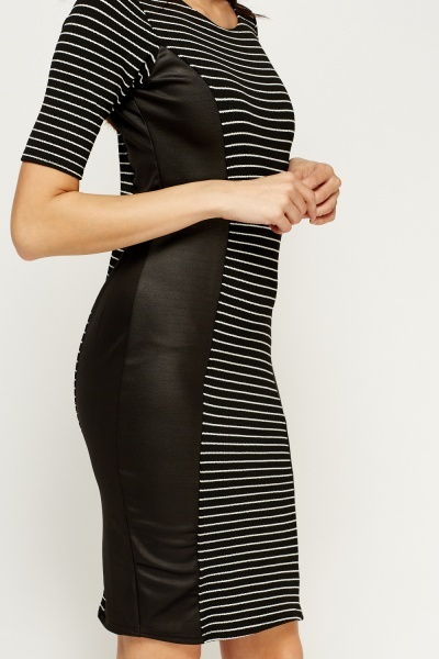 Bodycon Panel Striped Dress