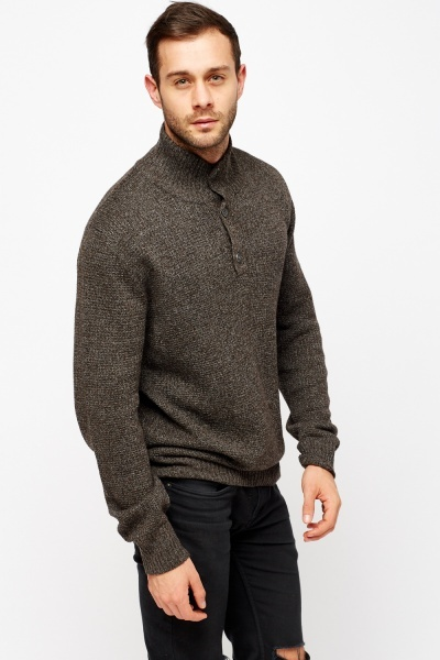 Button Neck Knitted Jumper
