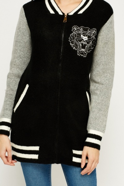 Contrast Knitted Zip Jacket