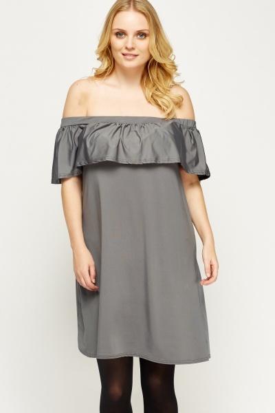 Image of Flare Off Shoulder Dress