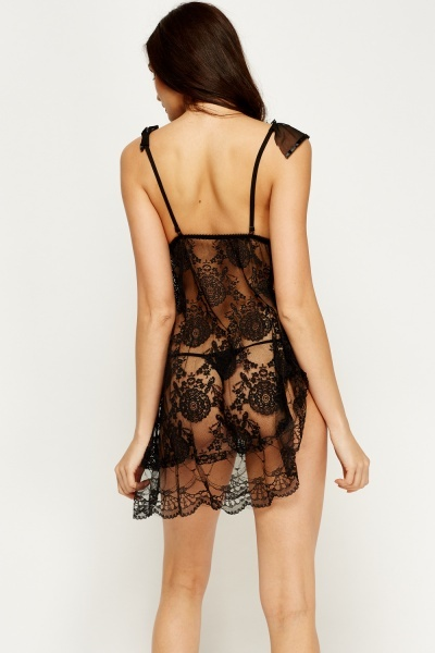 Laced Asymmetric Chemise And Thong Set