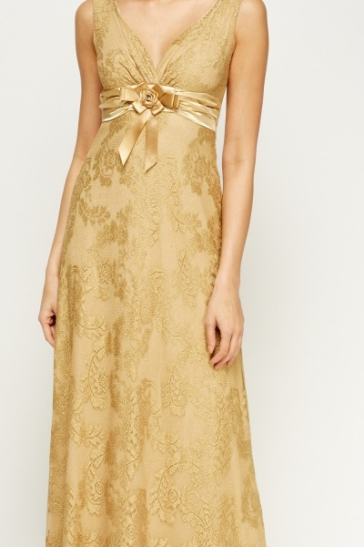 Metallic Gold Maxi Dress