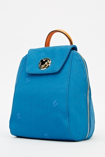 Detailed Middle Blue Backpack