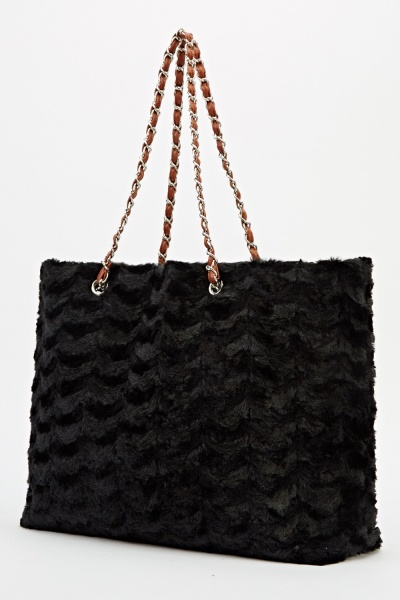 Faux Fur Tote Chained Handbag