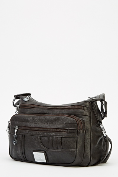 Faux Leather Multi Zip Bag
