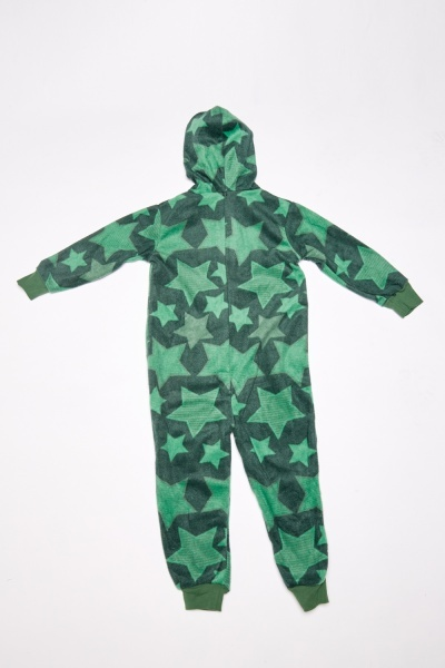 Star Printed Fleece Hooded Onesie