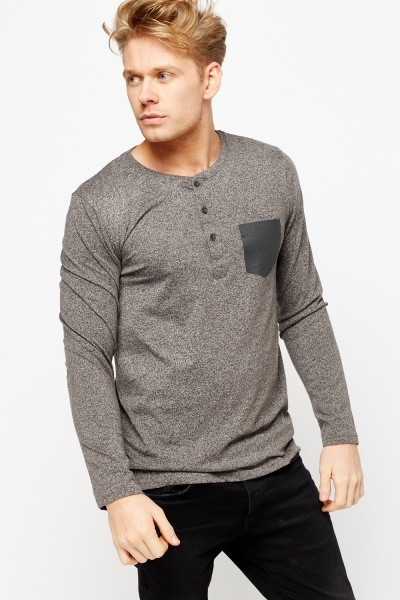 Button Neck Speckled T-Shirt
