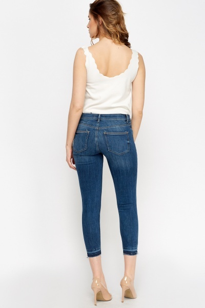 Cropped Denim Frayed Jeans