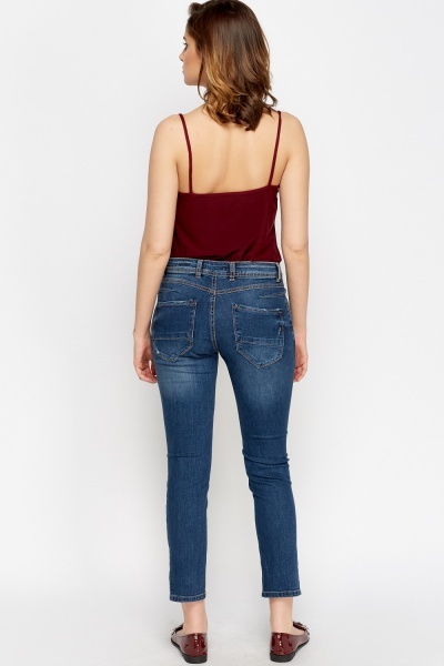 Denim Blue Cropped Boyfriend Jeans
