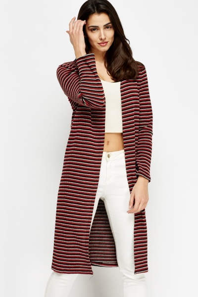 Multi Stripe Open Long Line Cardigan