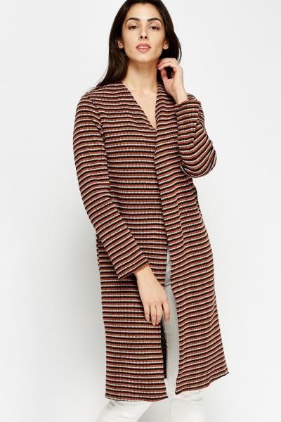 Multi Stripe Open Long Line Cardigan
