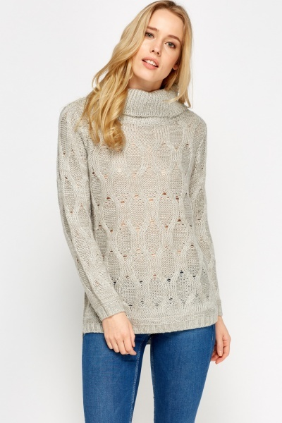 Mix Knit Roll Neck Grey Jumper