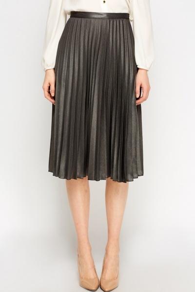 pleated metallic midi skirt just 163 5