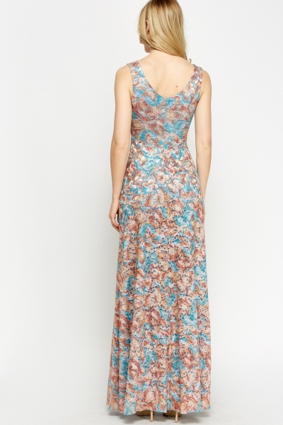 Floral Contrast Bow Maxi Dress