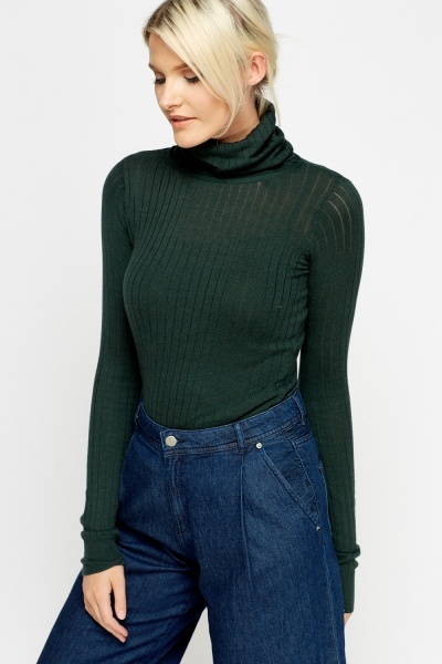 Green Ribbed Roll Neck Thin Jumper
