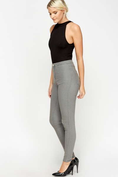 High Waist Skinny Grey Jeans
