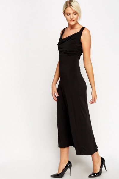 Lace Insert Back Ruched Maxi Dress