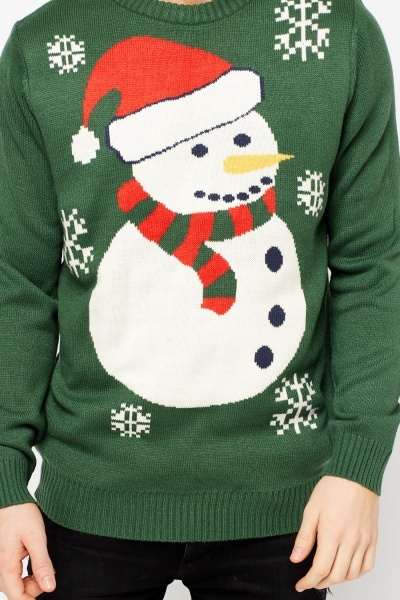 Green Snowman Jumper