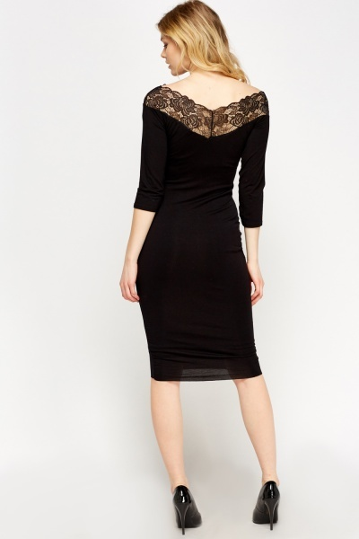 Lace Insert Black Midi Dress