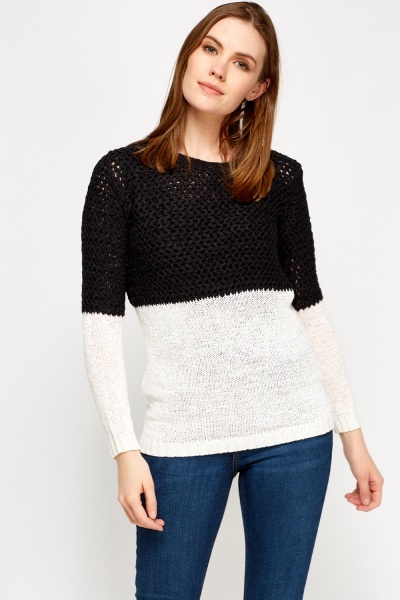 Colour Block Mix Knit Jumper