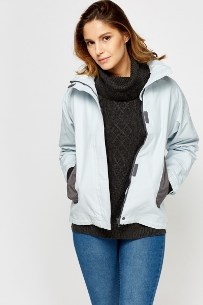 Contrast Waterproof Zip Up Jacket