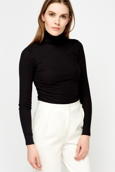 Ribbed Turtle Neck Top