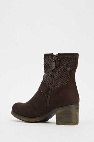 Buckle Suedette Brown Boots